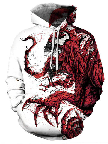 Halloween 3D Skull Lightning Print Long Sleeves Hoodie