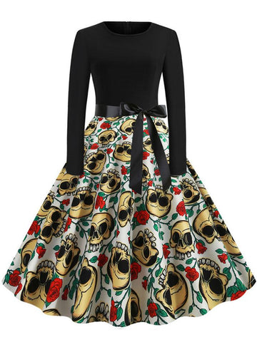 Halloween Retro Skull Print Dress