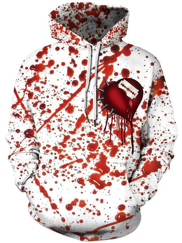 3D Blood Drop Digital Print Halloween Hoodie