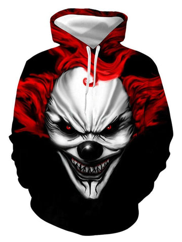 Evil Clown 3D Digital Print Halloween Hoodie