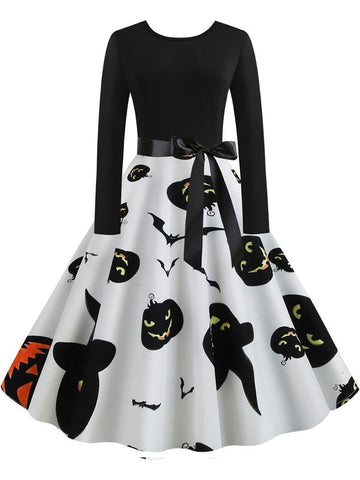 Halloween Pumpkin Printed Retro Dress