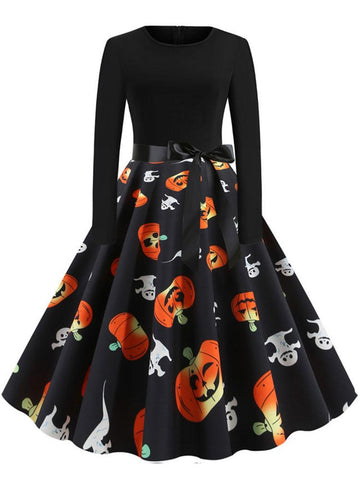 Halloween Printed  Casual Dress