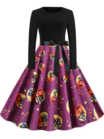 Halloween Pumpkin Printed Casual Dress