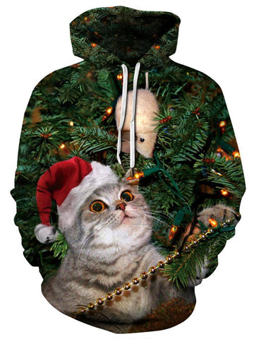 Christmas Cat Digital Printing Hooded Clothing