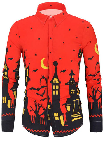 Halloween Style Print Casual Long-sleeved Shirt