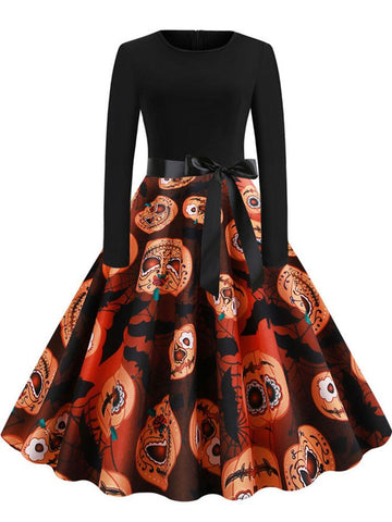 Halloween Vintage Pumpkin Print Dress