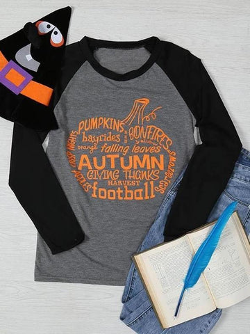 Halloween Pumpkins Autumn Football Baseball T-Shirt