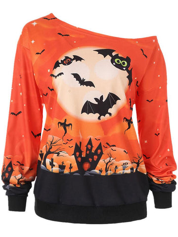 Halloween Night Print Skew Neck Sweatshirt