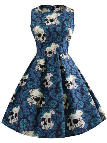 Halloween Skull Printed Dress