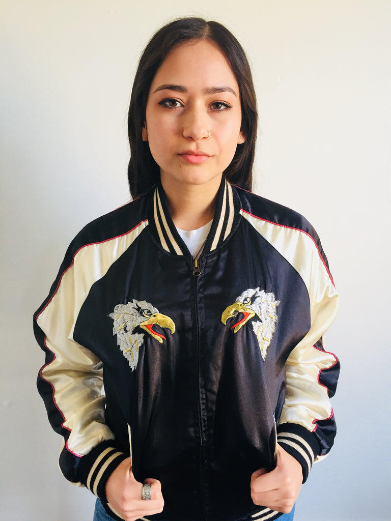 Embroidered Black and White Satin Bomber