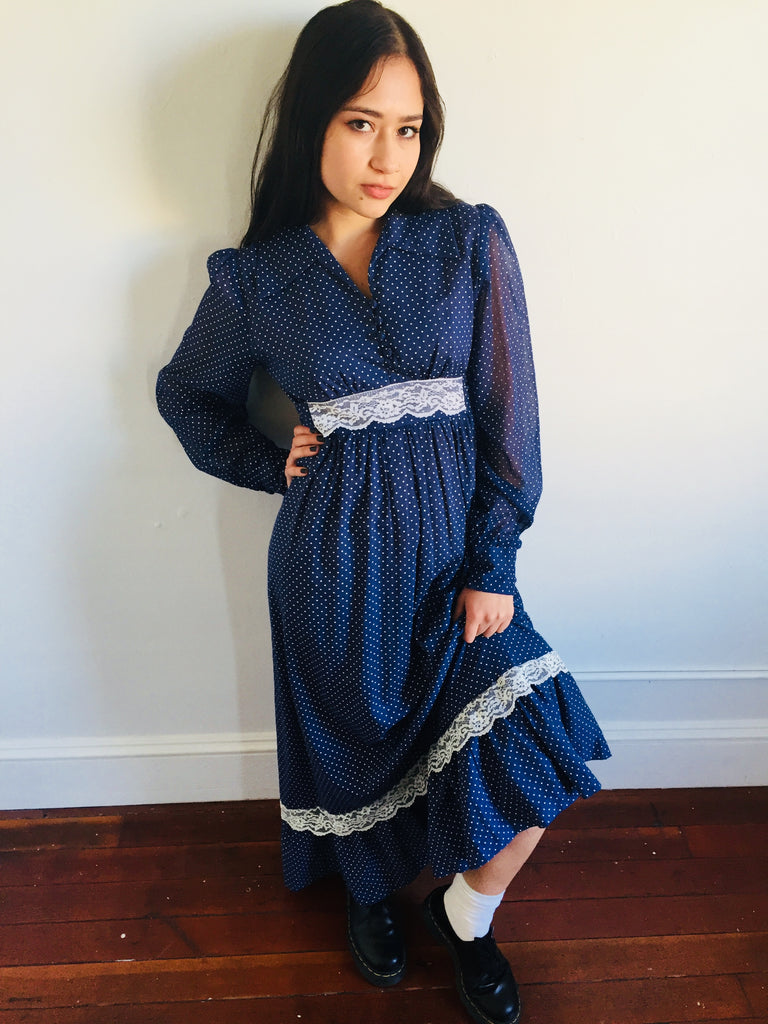 Blue w/ White Polka Dot Gunne Inspired  Dress