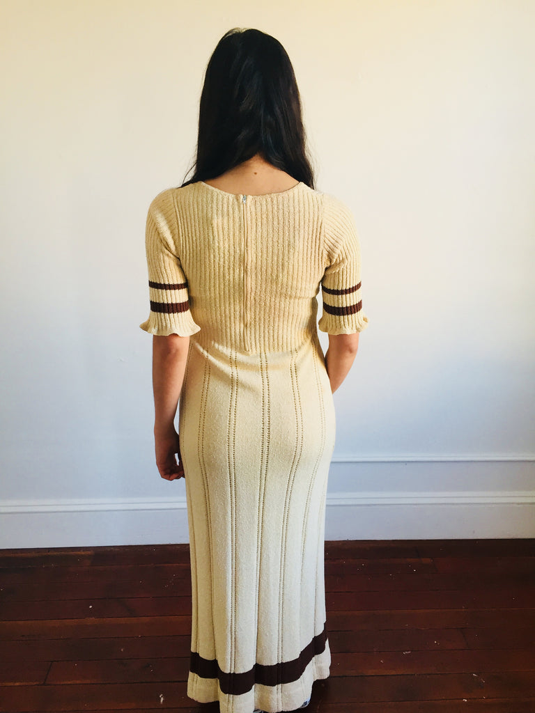 Tan Knit Maxi Dress w/ Coco Details