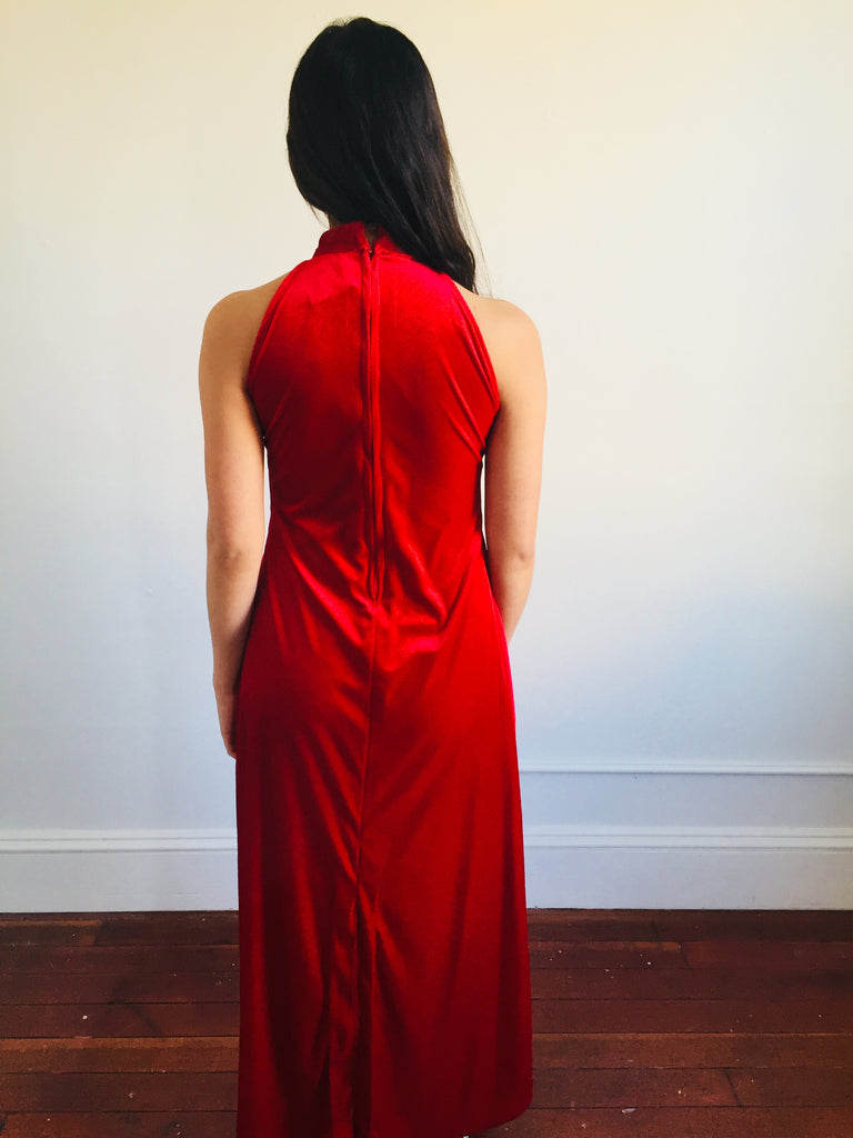 Crimson Red Velour Sleeveless Maxi