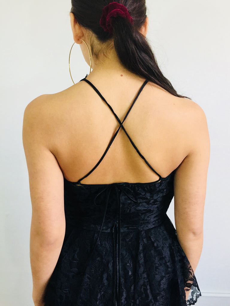 80's Black Lace Criss Cross Halter Dress