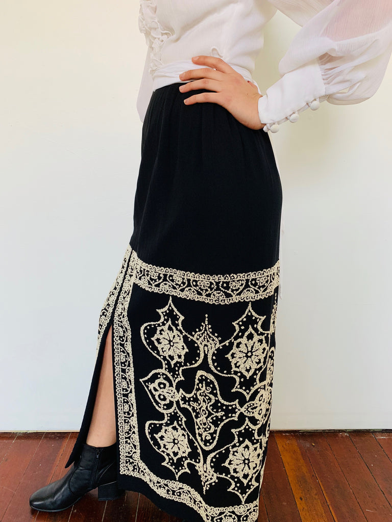 Beautiful Black and White Dress w/ Intricate Beading