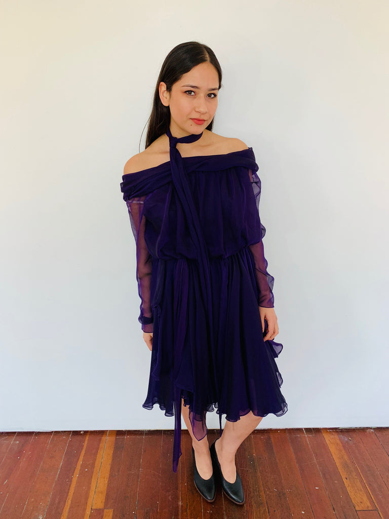 8ebb9ff2e12d Amazing Deep Purple Silk Off-the-Shoulder Dress with Scarf – Black ...