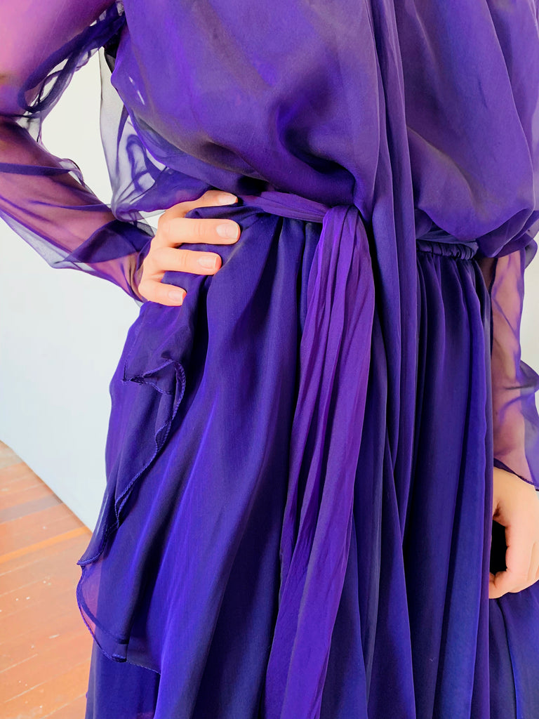 Amazing Deep Purple Silk Off-the-Shoulder Dress with Scarf