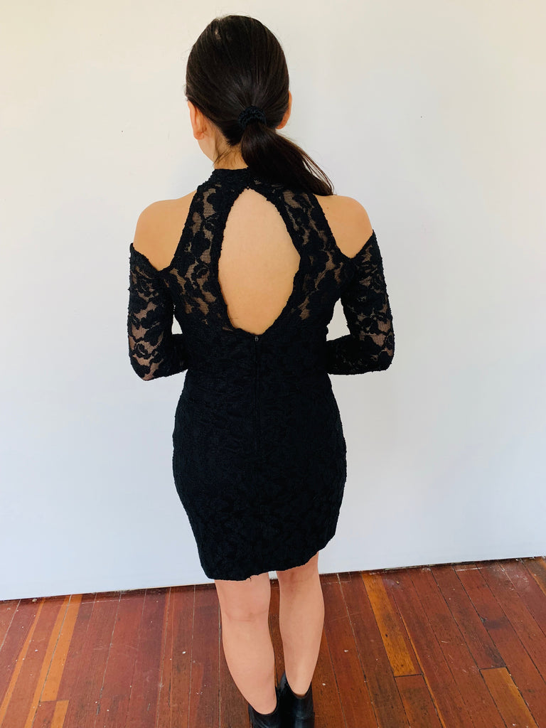 Sexy Lace Cutout Long Sleeve Black Dress