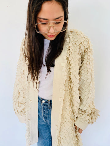 Amazing Cream Paneled Textured Jacket