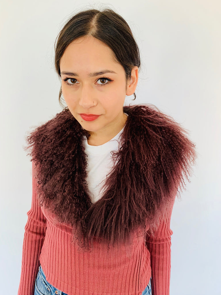 Fabulous Purple Mongolian Fur Collar and Mauve Ribbed Sweater
