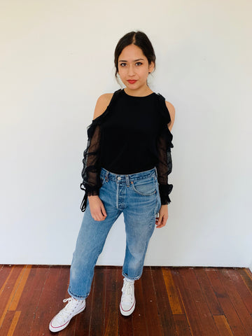 Alexis | Open Shoulder Black LS Blouse