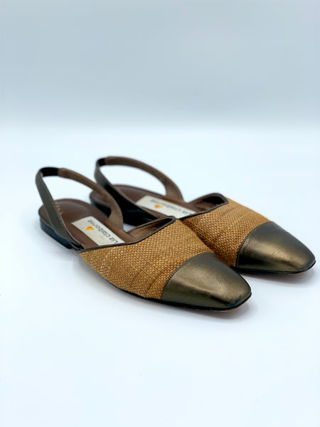 Liz Claiborne Gold and Bronze Sling Backs