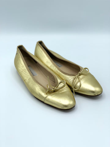 Gold Saks Fifth Avenue Gold Ballet Flats