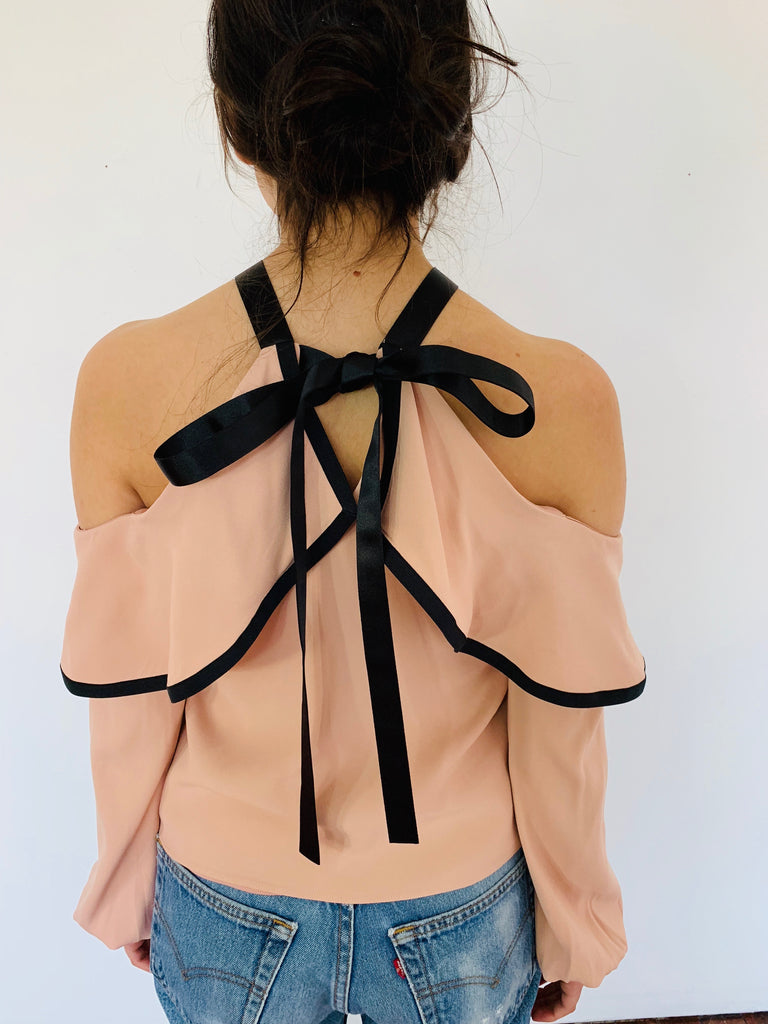 Alexis | Pink Open Shoulder Blouse