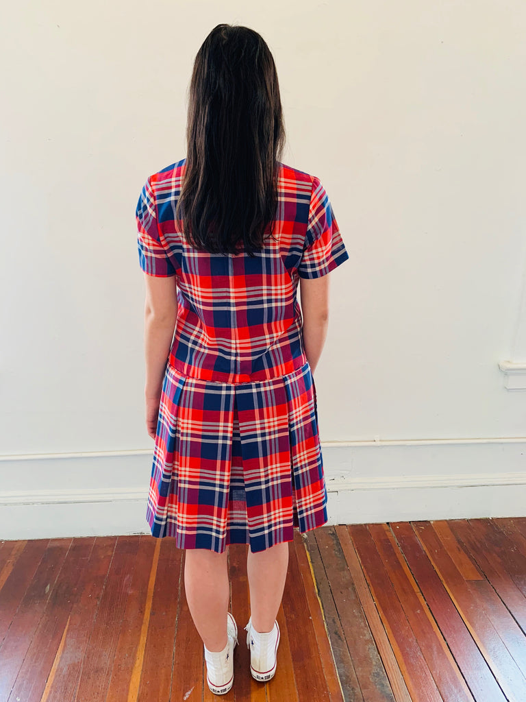Tartan Pleat Shift Dress
