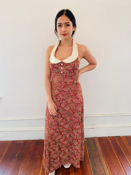 Collared Dotted Halter Maxi