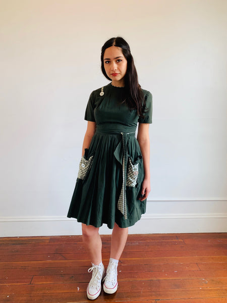 Olive Dress w/ Gingham Accents