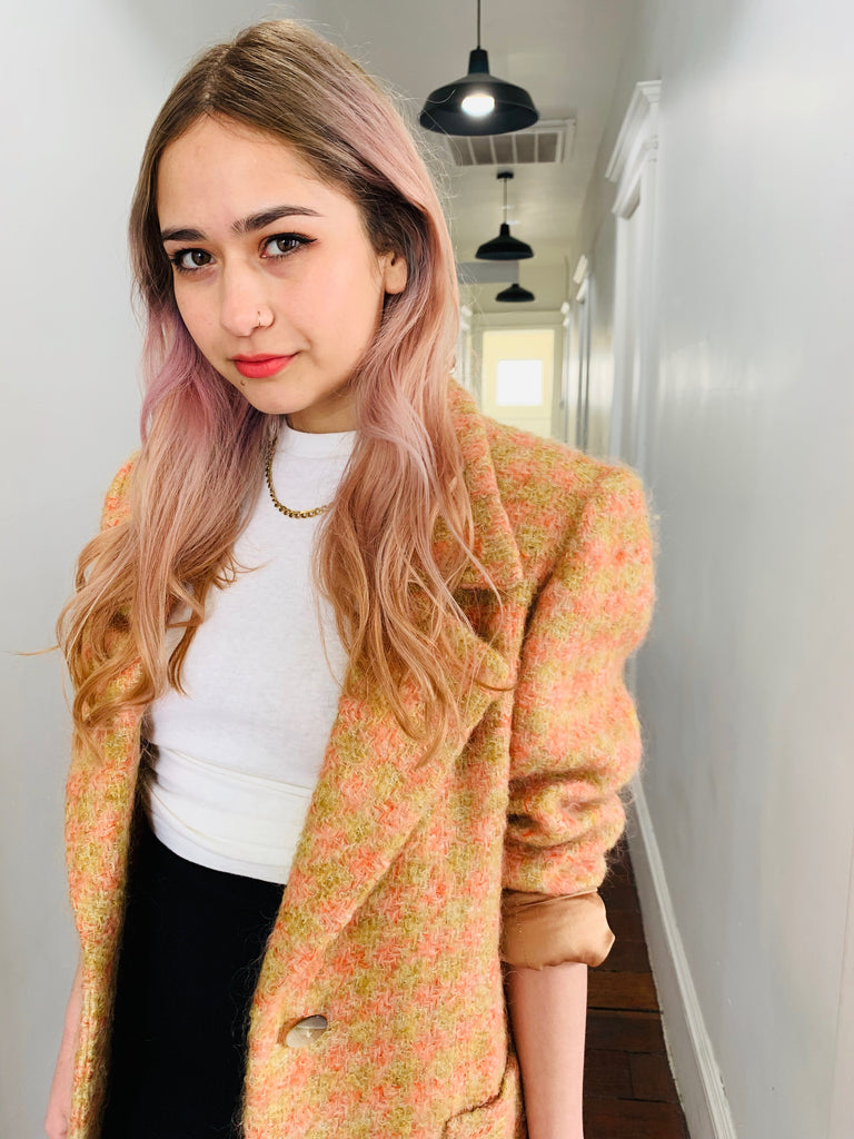 Sherbet Speckled in Green Fuzzy Claire Blazer