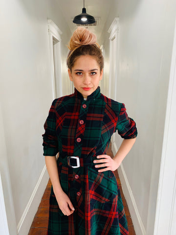 Hunter Green and Red Tartan Aline Dress/Waist Coat