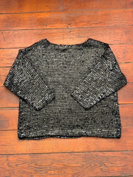 Black Sequin Oversized Top