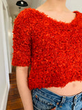 Vintage Fuzzy Electric Rust Crop Top