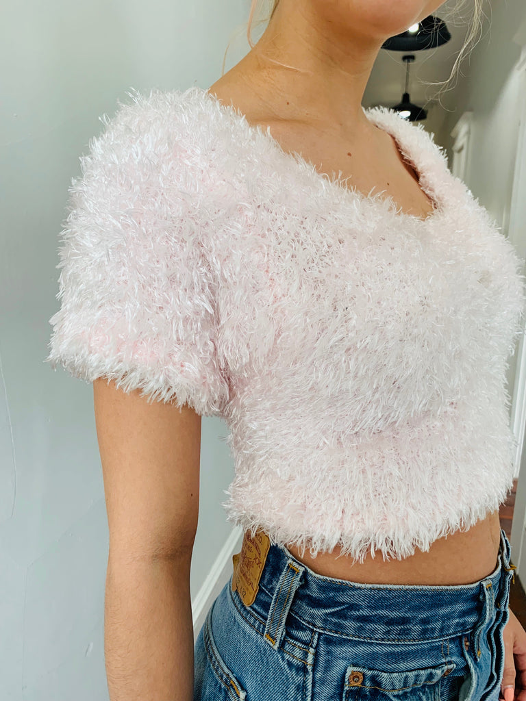 Fuzzy Furry Pink Crop Top