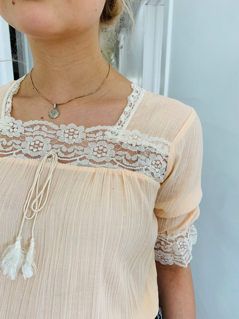 Peach and Lace Cotton Peasant Top