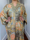 Vintage Gold Lamé  Embroidered Kaftan