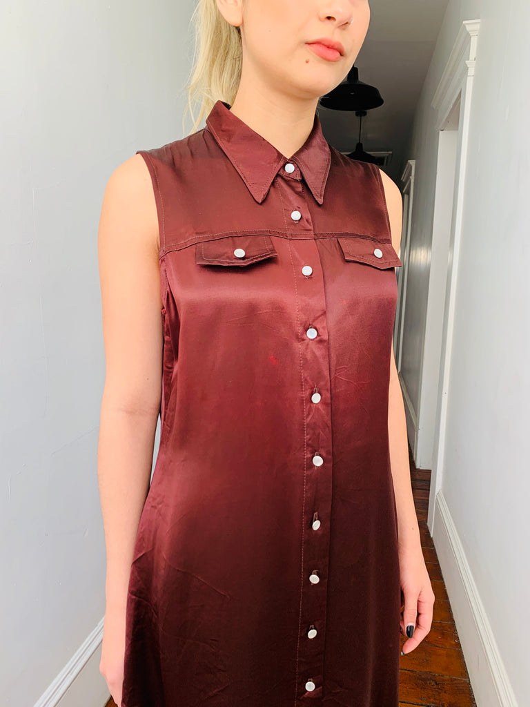 Brown Satin Collared Dress