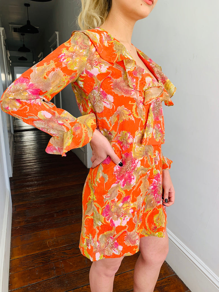 Colorful Floral Ruffled Dress