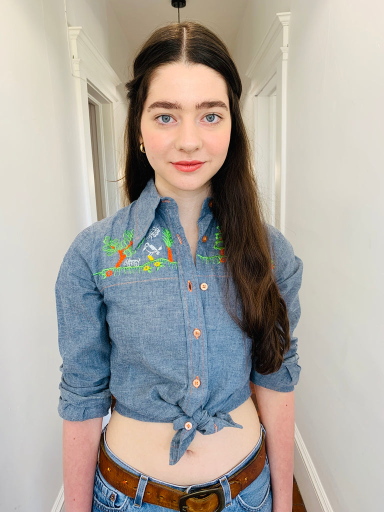 70s Chambray Butterfly Collar Shirt