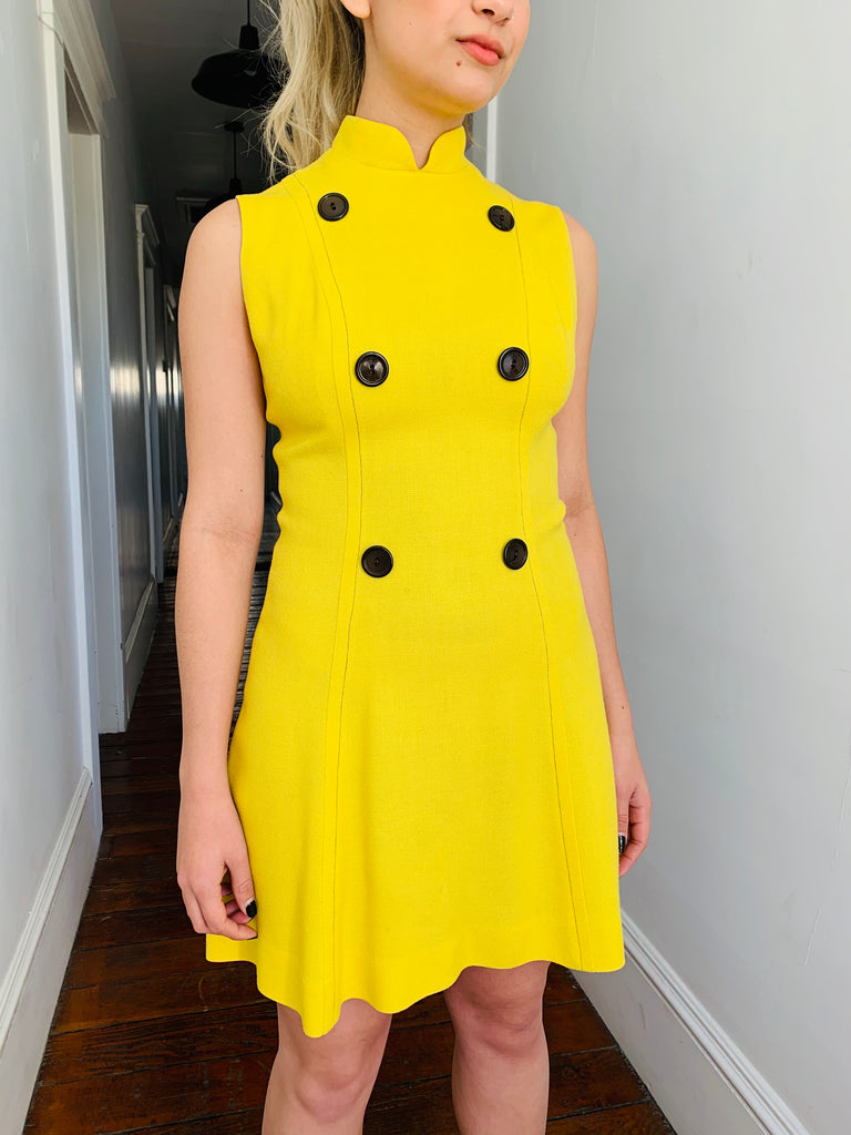 Yellow High Neck Mini Dress