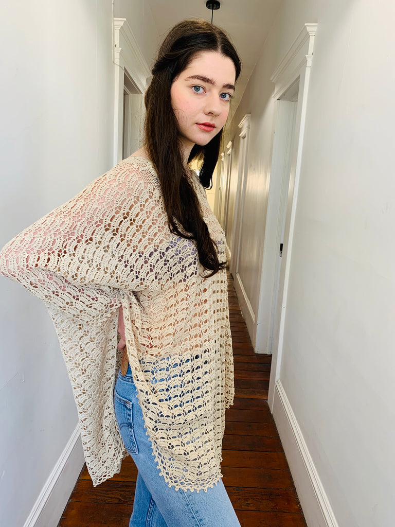 OATMEAL CROCHET TUNIC