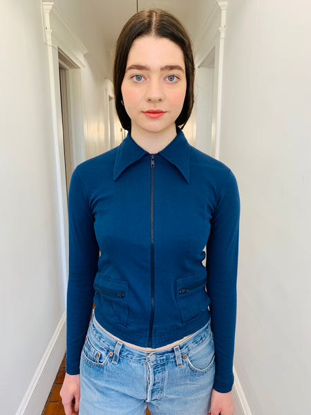 STEEL BLUE COLLARED ZIP UP