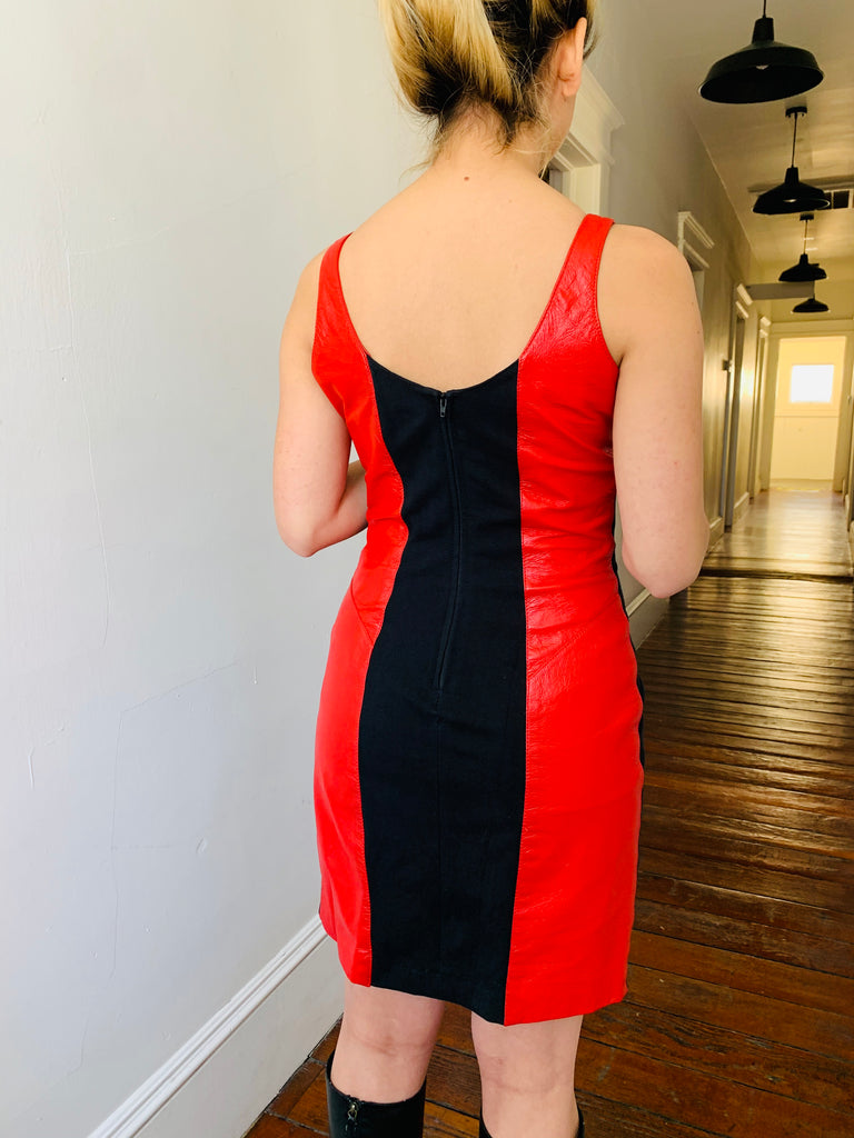 Red Leather Paneled Dress