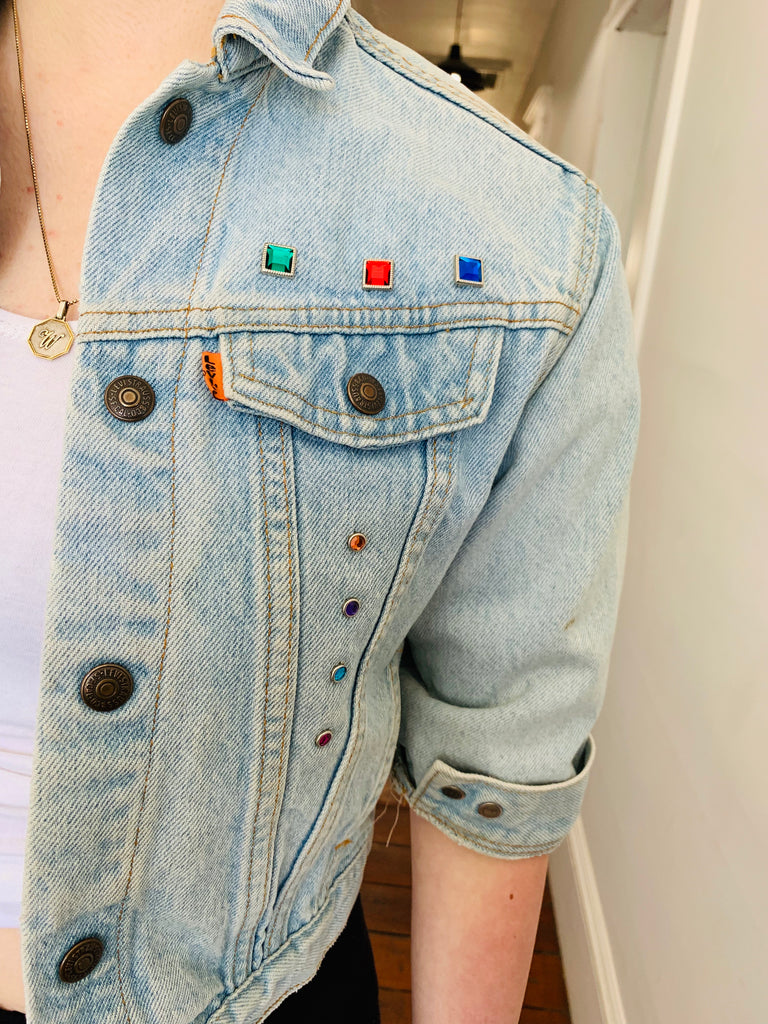 LEVI'S BEDAZZLED SUPER CROPPED DENIM JACKET