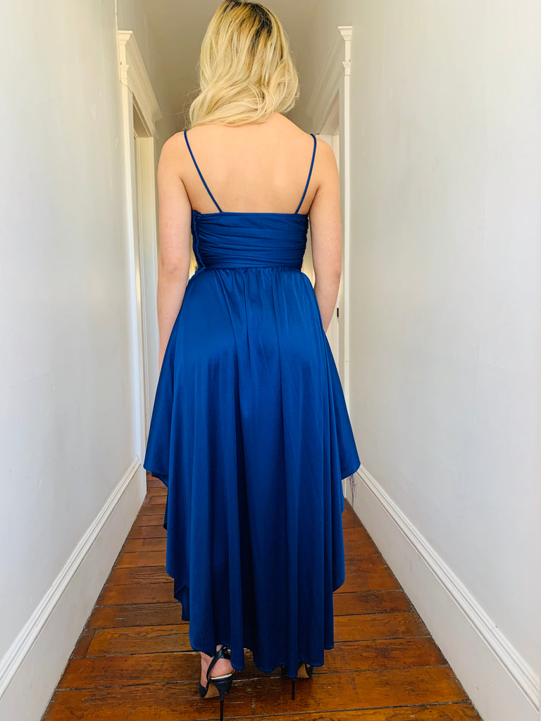 Blue Ruched Party Dress