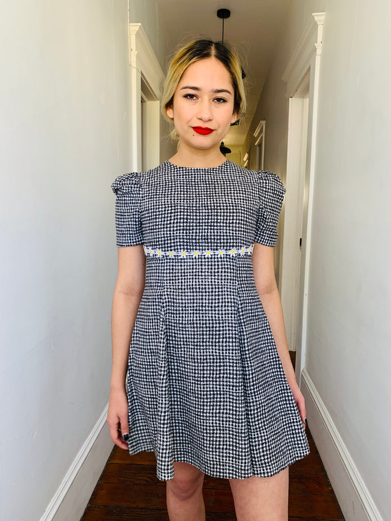 Gingham Daisy Mini Dress