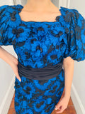80's Blue Puff Sleeve Party Dress