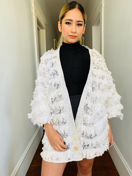Vintage Lace Ruffled Cardigan